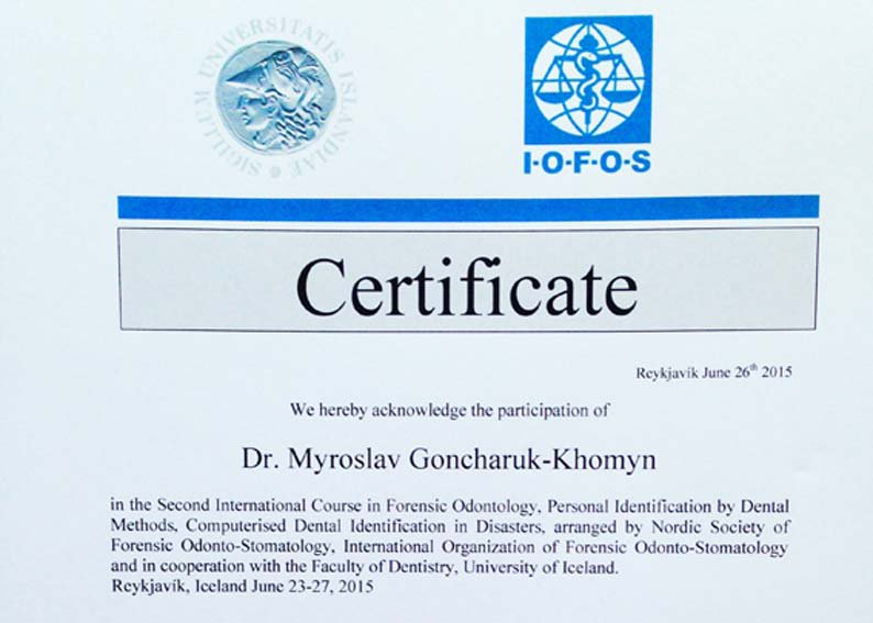 An intern of UzhNU participated in the Second International Course in Forensic Odontology in Iceland